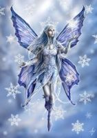 Snowflake Fairy Greetings Card by Anne Stokes
