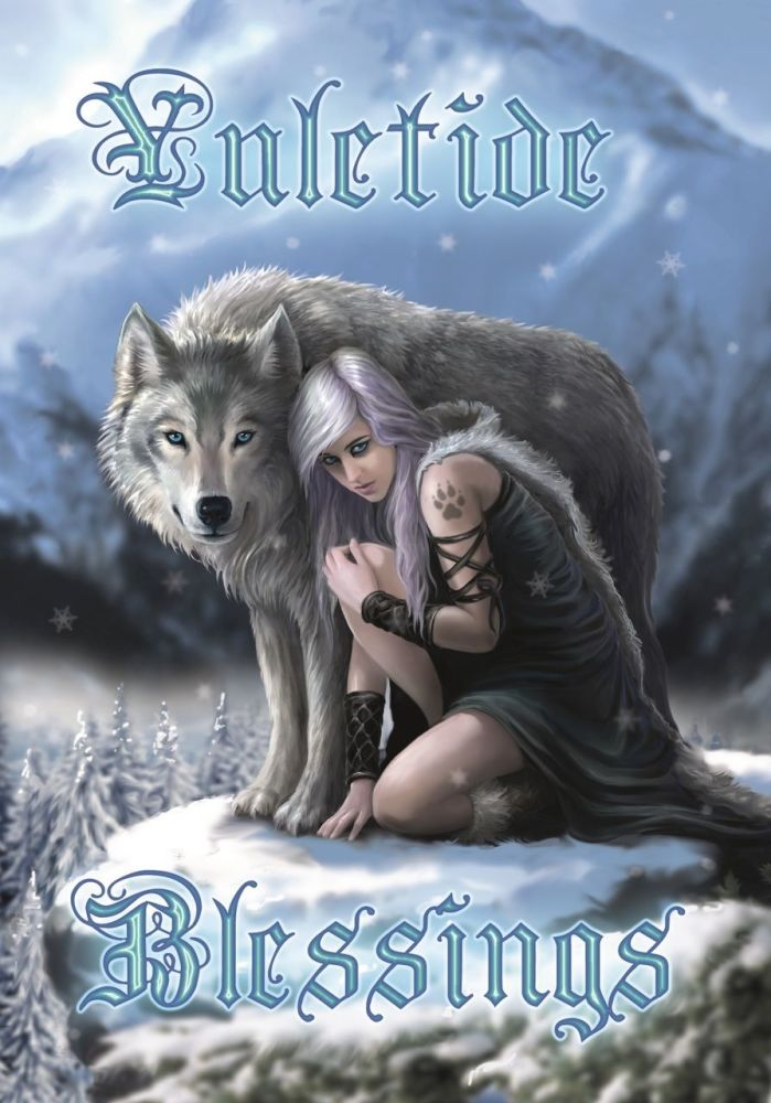 Winter Protector Greetings Card by Anne Stokes
