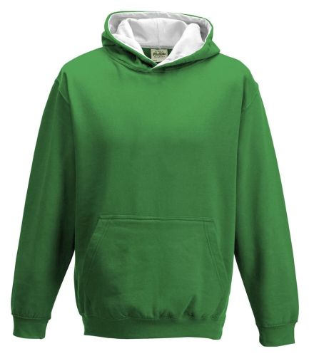 Contrast Kids Hoodies Greens