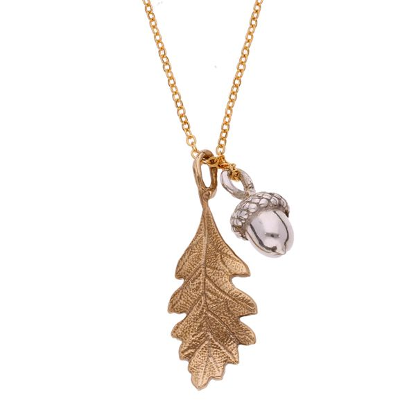 BRONZE Quercus - Oak leaf and Acorn Pendant
