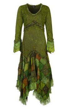 Long Boho Dress with Patchwork Skirt (GRN)