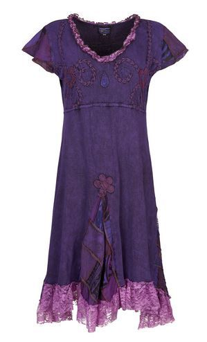 Cotton dress with patchwork and lace