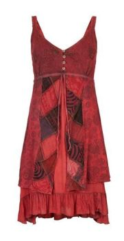 Strappy Cotton Dress with Patchwork (RED)
