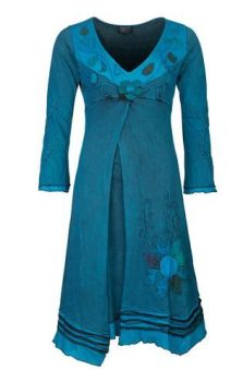 Flower Dress with Long Sleeves (TEAL)