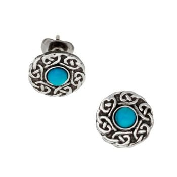 Celtic Circle Turquoise Gemstone Stud Earrings by St Justin of Penzance