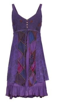 Strappy Cotton Dress with Patchwork (PUR)