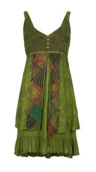 Strappy Cotton Dress with Patchwork (GRN)