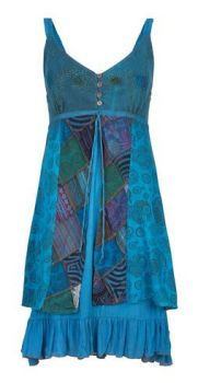 Strappy Cotton Dress with Patchwork (TEAL)