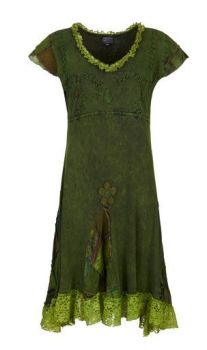 Cotton Dress with Patchwork and Lace (GRN)