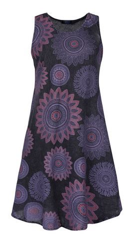 Stonewash Mandala Print Umbrella Dress