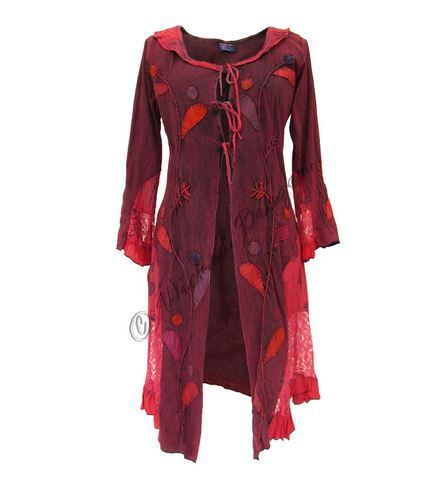Mid-length Boho Jacket with Lace and Applique