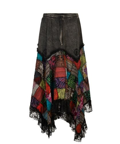 Pointy Pixie Skirt with Patchwork & Lace