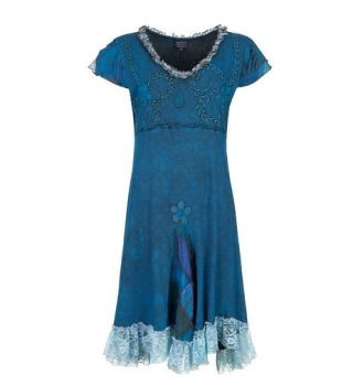 Cotton Dress with Patchwork and Lace (TEAL)