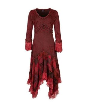 Long Boho Dress with Patchwork Skirt (RED)
