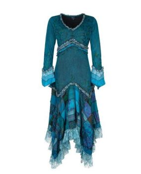 Long Boho Dress with Patchwork Skirt (TEAL)