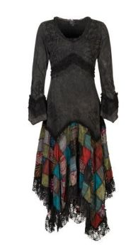 Long Boho Dress with Patchwork Skirt (BLK)