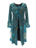 Mid-length Boho Jacket with Lace and Applique (TEAL)