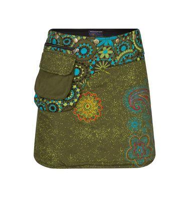Short Mandala print Wrap Skirt