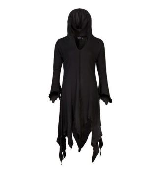Gothic Style Dress with Long Pixie Hood (BLK)