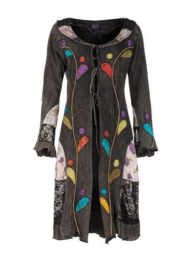 Mid-length Boho Jacket with Lace and Applique (BLK)