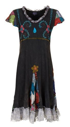 Cotton Dress with Patchwork and Lace (BLK)