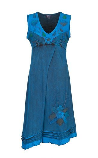 Sleeveless Flower Dress (TEAL)