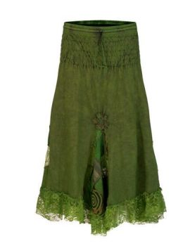 Mid length skirt with patchwork & lace (GRN)
