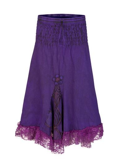 Mid length skirt with patchwork & lace (PUR)