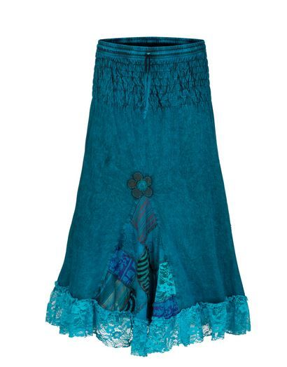 Mid length skirt with patchwork & lace (TEA)