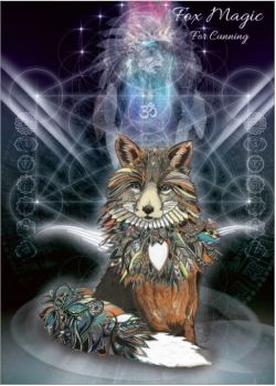 Fox Magic Greetings Card by Karin Roberts