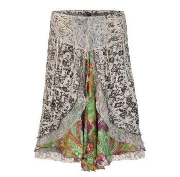 Mid length boho style skirt (WHI)