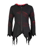 Pixie Hooded Jacket with Long Pointed Hood (BLK)