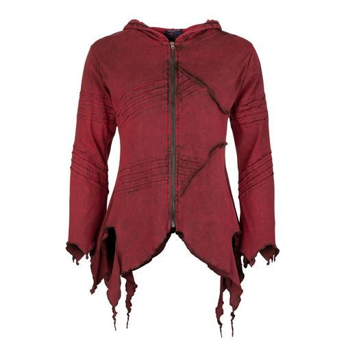 Pixie Hooded Jacket with Long Pointed Hood (RED)