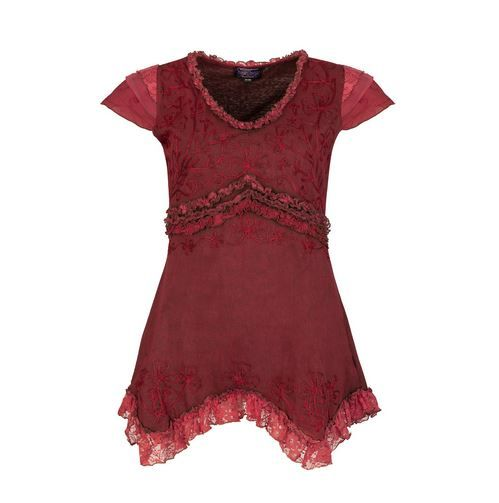 Embroidered pixie top (RED)