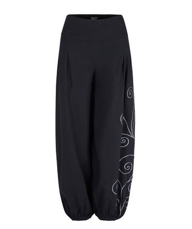 Long Trousers with Swirly Embroidery (BLK)