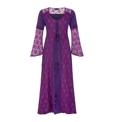Long Medieval Style Dress with Bell Sleeves (PUR)