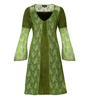 Mid Length Medieval Style Dress with Bell Sleeves (GRN)