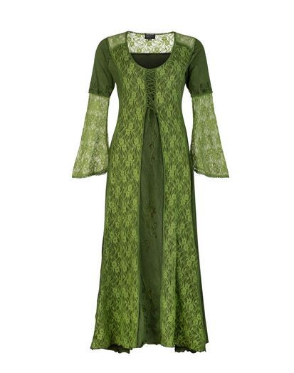 Long Medieval Style Dress with Bell Sleeves (GRN)