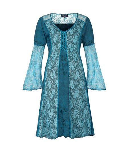 Mid Length Medieval Style Dress with Bell Sleeves (TEAL)
