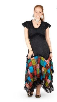 Long Boho Dress with Cap Sleeves and Patchwork Skirt (BLK)