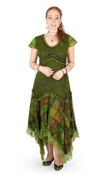 Long Boho Dress with Cap Sleeves and Patchwork Skirt (GRN)