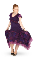 Long Boho Dress with Cap Sleeves and Patchwork Skirt (PUR)