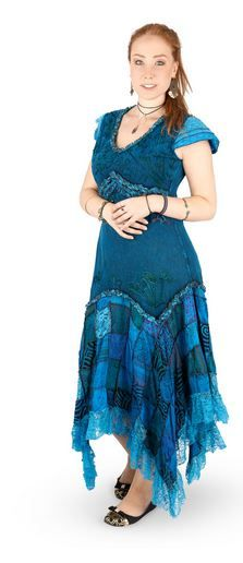 Long Boho Dress with Cap Sleeves and Patchwork Skirt (TEAL)