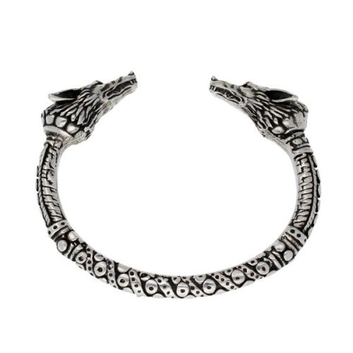 Wolf Heads Torc Bangle by St Justin of Penzance