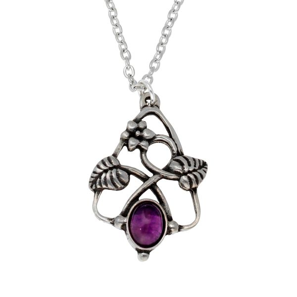 Amethyst Flower Knot Pendant by St Justin of Penzance