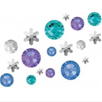 Crystal Parade Swarovski No Hot Fix Crystals Mixed Sizes - Pack of 200 Snow Queen inc. Snowflakes