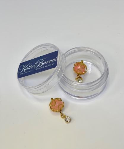 Large Gold Pearl Dangle Nail Art Jewellery - Peach