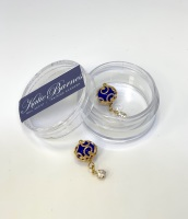 Large Gold Pearl Dangle Nail Art Jewellery - Blue