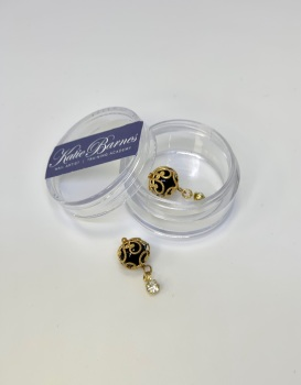 Large Gold Pearl Dangle Nail Art Jewellery - Black