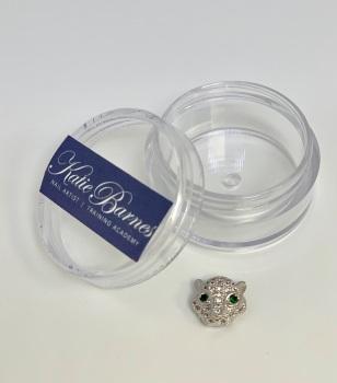 Silver Cubic Zirconia Leopard Head Nail Jewellery